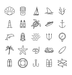 Diving and water activities icons outline icons vector image