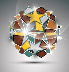 Dimensional metal dazzling orb with gold stars vector
