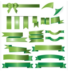 Green ribbons set isolated on white background vector