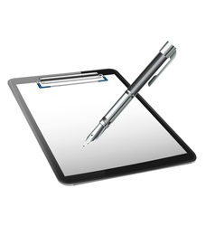 Clipboard and pen vector
