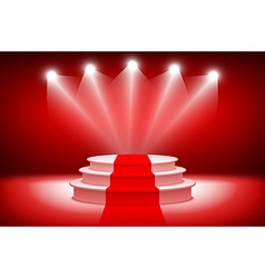 3d theatrical backgroundscene and red curtains red vector