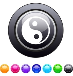Ying yang circle button vector