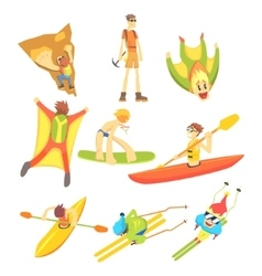 Extreme sports sticker collection vector