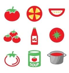 Color tomato icons set vector