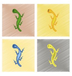 Assembly flat shading style icons lizard reptile vector