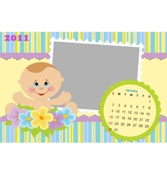 Babys calendar for january 2011 vector image