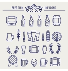 Beer thin line icons set vector image vector image