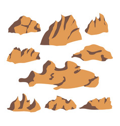Brown stone rock set vector