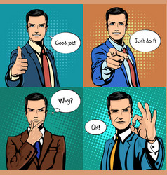 Businessman with different hand gestures vector