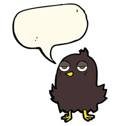 Cartoon bored bird with thought bubble vector