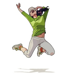 cartoon girl jumping vector image vector image