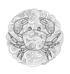 Coloring page ornate crab in circle mandala vector
