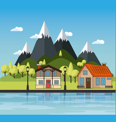 Country houses design vector