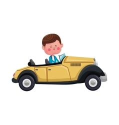 Cute boy cartoon icon vector