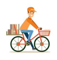 Delivery service worker delivering boxes with vector