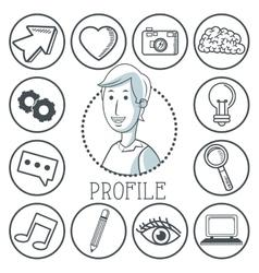 Doodle icon design profile icon draw concept vector image vector image