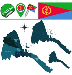 Eritrea map with named divisions vector image vector image