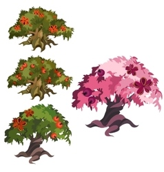 Fabulous trees with apples and ribbons vector