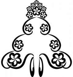 floral tattoo symbol vector image