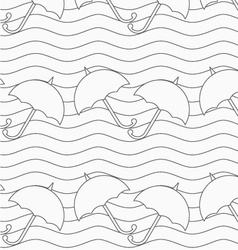 Gray umbrellas in wavy continues lines vector