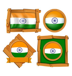India flag on round and square badges vector