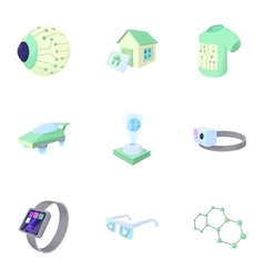 Latest electronic devices icons set cartoon style vector