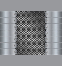 Metal perforated background with side plates and vector