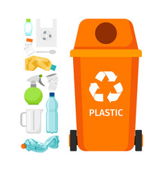 orange garbage can with plastic vector image vector image