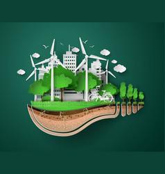 Paper cut of eco vector
