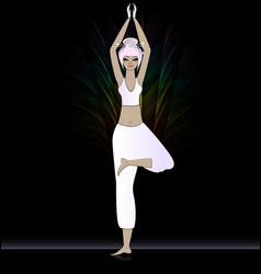 relaxing pink girl in yoga in the dark vector image vector image