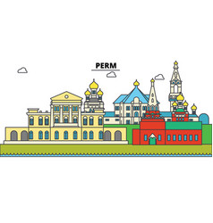 Russia perm city skyline architecture vector