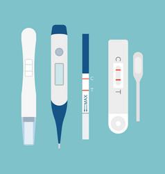 set of pregnancy test flat design vector image