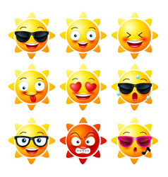 Sun smiley face icons or yellow emoticons with vector