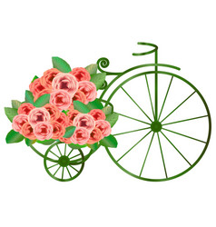 vintage bicycle with bunch of roses vector image vector image