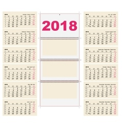 Template grid wall calendar 2018 first day monday vector