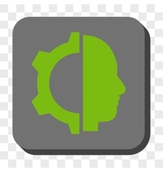 Cyborg gear rounded square button vector