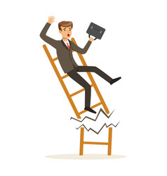 Businessman or manager fall down of broken career vector