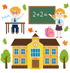 Set of isolated building school and children vector