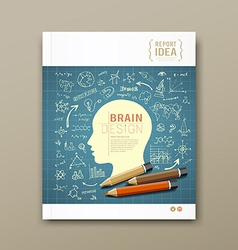 Cover magazine sketch hand drawn science icons vector