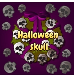 Wreath of skulls halloween decoration on the door vector