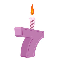 7 years birthday number with festive candle for vector