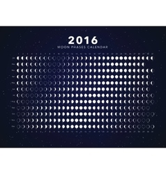 Moon phases calendar 2016 vector