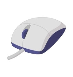 White computer mouse cartoon icon vector image