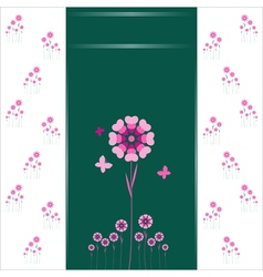 Heart flowers background or card vector