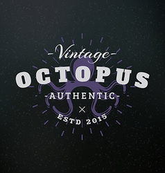 Octopus vintage retro design elements for logotype vector