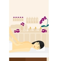 Woman recieving massage vector