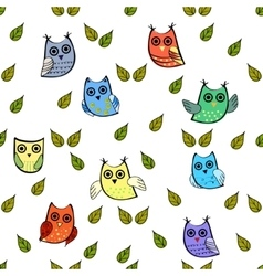 Owl and leaves seamless pattern vector