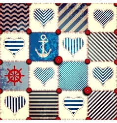 Patchwork in nautical style vector