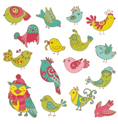 Colorful birds doodle collection vector