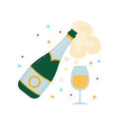 a bottle of champagne and a glass vector image